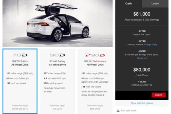 Tesla Model X tiene un precio de partida de 80.000 dólares